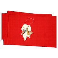 Japanese Narrow Red Obi Belt with a Child Jumping Rope