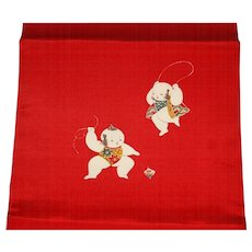 Japanese Wide Red Obi Belt with Children Playing