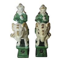 Pair of Chinese Ming Style Porcelain Figures on Elephants