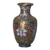 Small Chinese Old Cloisonné Brass Vase