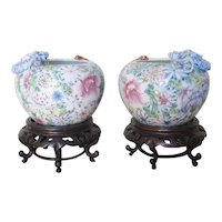 Pair of Early 20th C. Famille Rose Porcelain Bowls with Dragons