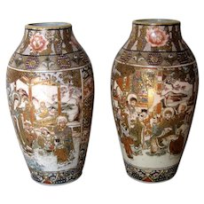 Pair of Exquisite Japanese Satsuma Vases
