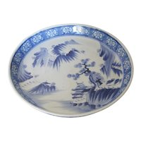 Antique Large Japanese Porcelain Blue & White Low Bowl