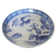 Antique Large Japanese Porcelain Blue & White Low Bowl