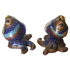 Pair of Small Chinese Cloisonné Fish