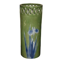 Large Japanese Celadon Porcelain Iris Umbrella Stand