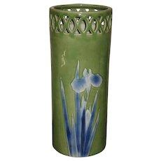 Large Japanese Celadon Porcelain Iris Umbrella Stand