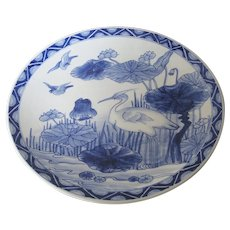 Large Japanese Porcelain Blue and White Charger with a Crane