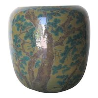 Japanese Vintage Porcelain Studio Ware Jar with Pine Trees