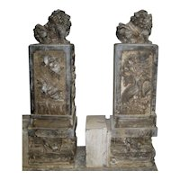 Chinese Carved Stone Door Posts with Temple Lions