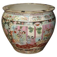 Vintage Chinese Porcelain Fish Bowl with Ming Figures
