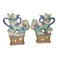 Chinese Vintage Large Ceramic Green Fu Dogs