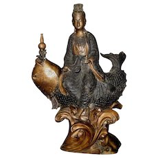 Large Asian Bronze Female Deity Seated on a Large Fish