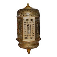 Chinese Brass Hexagonal  Hanging Lantern