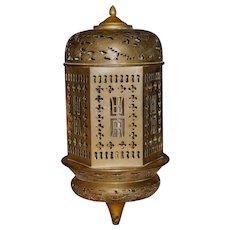 Chinese Brass Hexagonal  Hanging Lantern