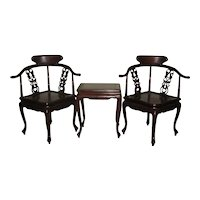 Vintage Set of Two Rosewood Corner Chairs  and Small Table