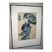 "Woodblock Print of ""Geisha with Umbrella"""