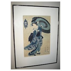 "Woodblock Print of ""Geisha with Umbrella"""