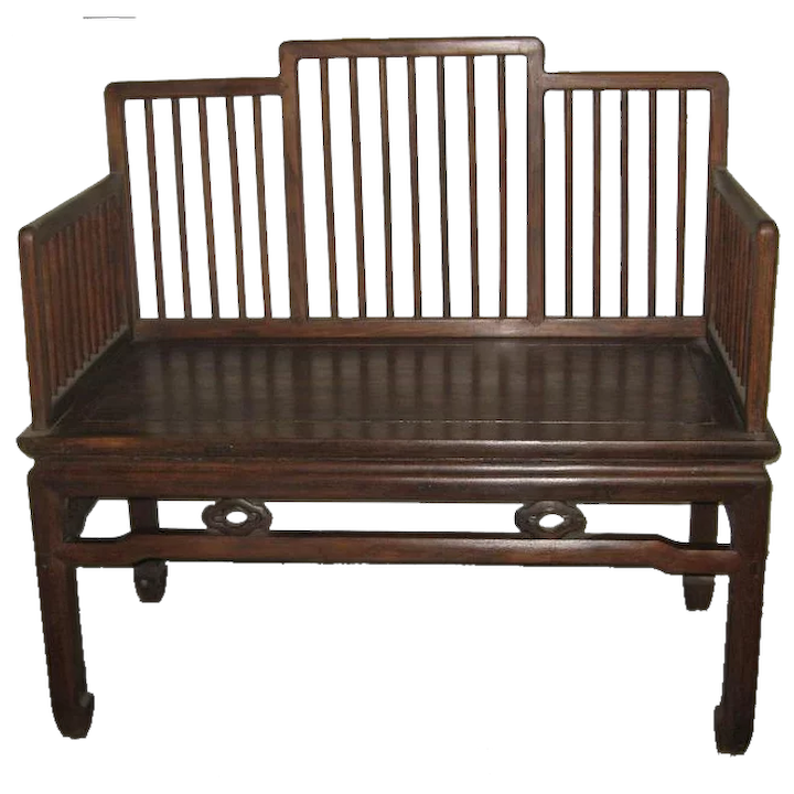 Fantastic Chinese Wood Bench With A Stepped Spindle Back Gmtry Best Dining Table And Chair Ideas Images Gmtryco