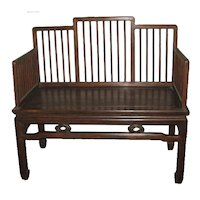 Chinese Wood Bench with a Stepped Spindle Back