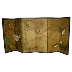 Japanese Vintage  6-panel Screen with Bamboo and Red Crested Cranes