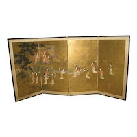 Japanese Meiji 6 Panel Screen of a Beauties in Garden Setting