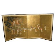 Japanese Meiji 6 Panel Screen of a Beauties in Garden Setting