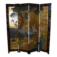 Vintage Chinese 4-Panel Coromandel Screen with Cranes and Ducks