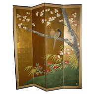 Japanese 4-Panel Tall Narrow Screen Large FloweringTree with Perched Pheasants, signed
