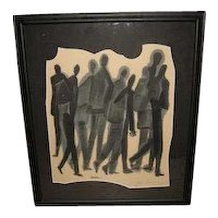 """Charcoal painting on paper """"Group of Figures"""", by Ben Shahn, (1898-1969)"""