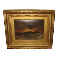 19th Century English Oil Painting of  a Winter Landscape Scene