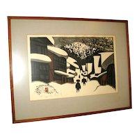 "20th Century Japanese Woodblock Print by Kiyoshi Saito of ""Winter Scene"""