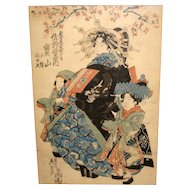 Japanese Woodblock Print of a Geisha and Two Young Girls