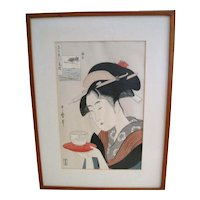 Japanese Woodblock Print of a Geisha with Tea Cup