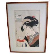 Japanese Woodblock Print of a Geisha with Tea Cup
