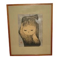 """1950's Japanese woodblock print of a """"Girl with a Butterfly by Kawano Kaoru"""
