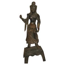 Antique Chinese Bronze Statue of a Deity