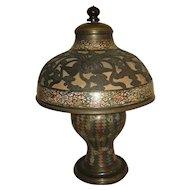 Antique Japanese Champlevé Bronze Lamp