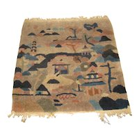 Vintage  Chinese Wool Rug with Temples in a Landscape Setting