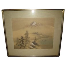 Group of Four Japanese Paintings on Silk