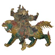 Exquisite Chinese Polychrome Ceramic Roof Tile of a Warrior Riding a Temple Lion