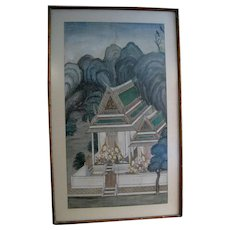 Thai Watercolor on Cloth of a Temple with Worshippers