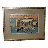 Japanese  Woodblock Print by Hiroshige (1796-1858) Scene of 47 Ronin