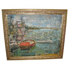"""Oil on Board of a """"Harbor Scene"""" on Manhasset Bay, by L. Bayal"""