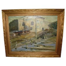 Oil Painting on Canvas of a Boat Yard Dock by Gerhard Beyer