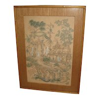 Vintage Chinese Watercolor of a Garden Scene with a Warrior