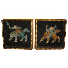 Pair of Framed Gilt Shadow Boxes with Roof Tiles of Warriors Riding Lions