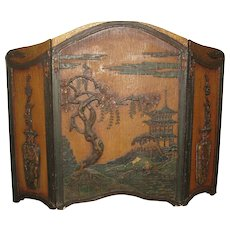 Vintage Wood Fireplace Screen with an Asian Theme