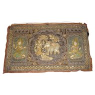 Exquisite Burmese Beaded and Sequined Kalaga with Deities and Musicians
