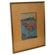 """Japanese Woodblock Print by Ando Hiroshige  """"Famous Views of 600 Odd Provinces"""", (1853-1856)"""